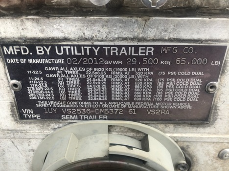USED 2013 UTILITY REEFER REEFER TRAILER #1839-2