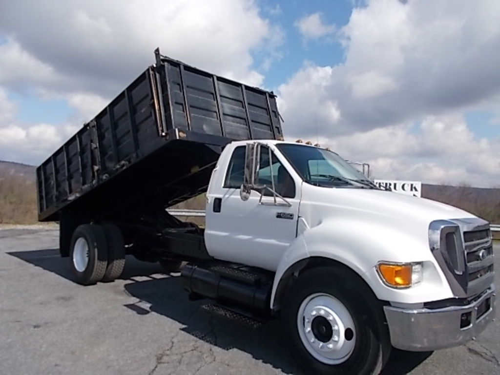USED 2005 FORD F650 FLATBED DUMP TRUCK #119628