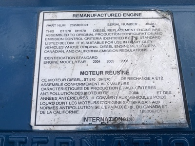 USED 2006 INTERNATIONAL DT570 TRUCK ENGINE TRUCK PARTS #1102-7