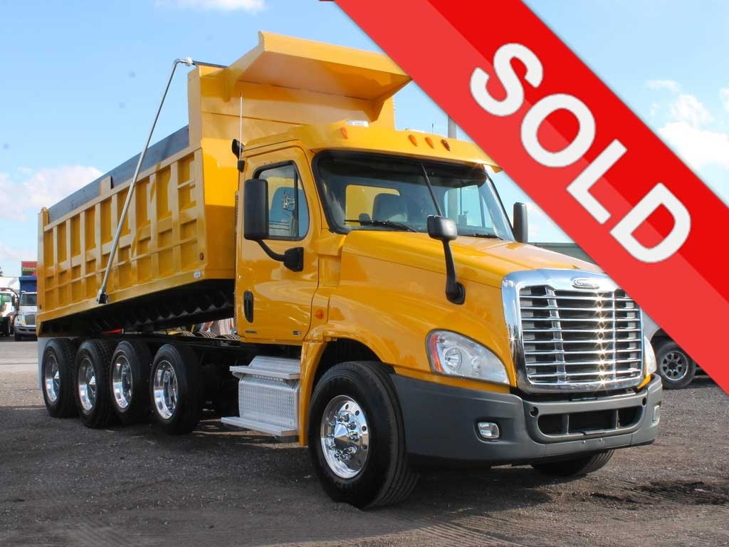 USED 2011 FREIGHTLINER CASCADIA QUAD AXLE STEEL DUMP TRUCK #2642