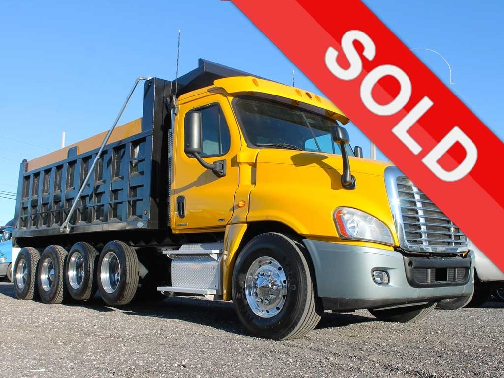 USED 2011 FREIGHTLINER CASCADIA QUAD AXLE STEEL DUMP TRUCK #2646