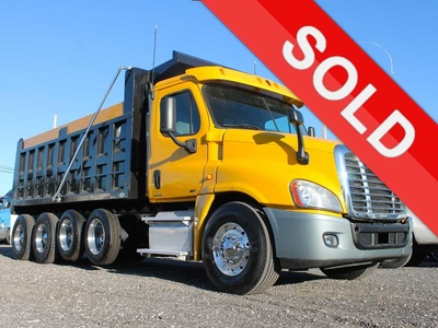 USED 2011 FREIGHTLINER CASCADIA QUAD AXLE STEEL DUMP TRUCK #2646-1