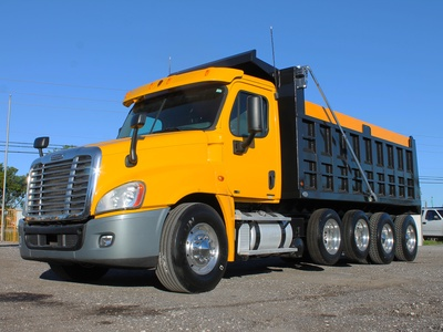 USED 2011 FREIGHTLINER CASCADIA QUAD AXLE STEEL DUMP TRUCK #2646-4