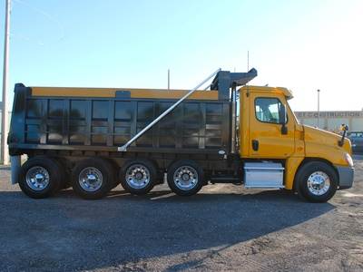 USED 2011 FREIGHTLINER CASCADIA QUAD AXLE STEEL DUMP TRUCK #2646-7