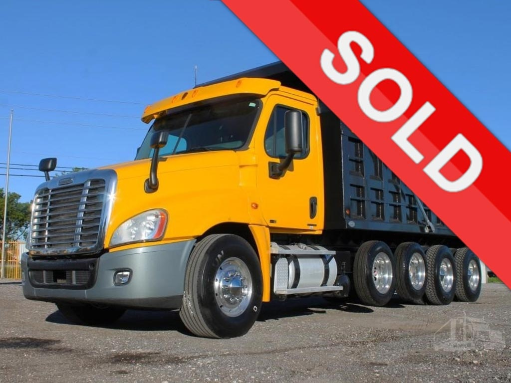 USED 2011 FREIGHTLINER CASCADIA QUAD AXLE STEEL DUMP TRUCK #2768