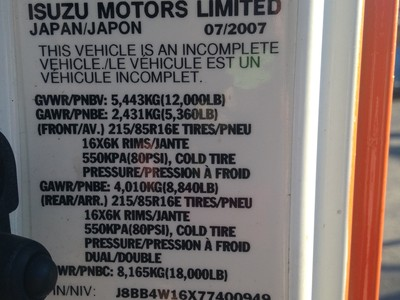 USED 2007 ISUZU W4 CAB CHASSIS TRUCK #1632-6