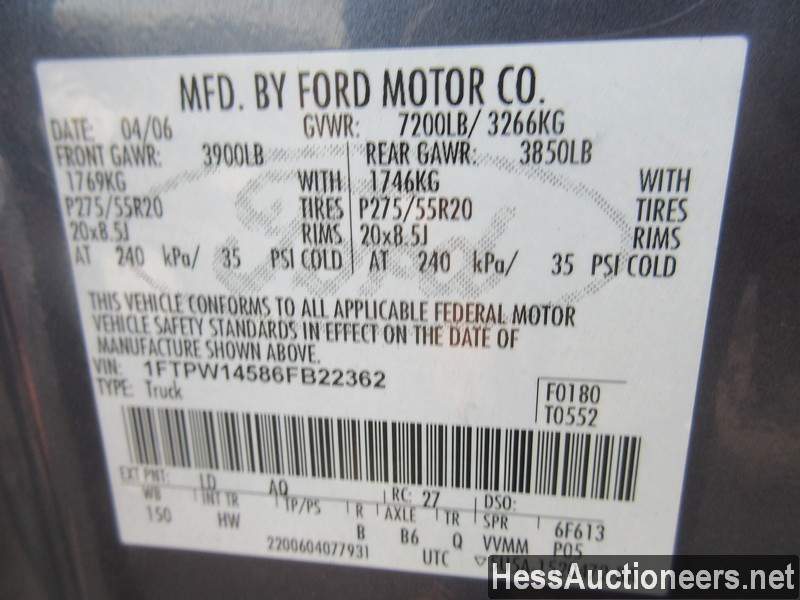 USED 2006 FORD F150 4WD 1 TON PICKUP TRUCK TRAILER #35632-9
