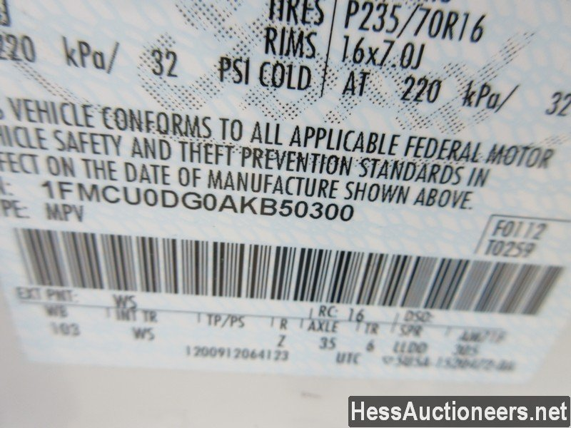 USED 2010 FORD ESCAPE SUV PASSENGER VEHICLE #48044-5