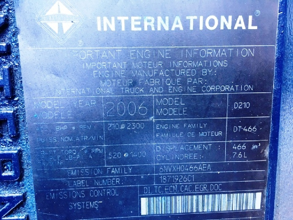 USED 2006 INTERNATIONAL DT466E TRUCK ENGINE FOR SALE #12116