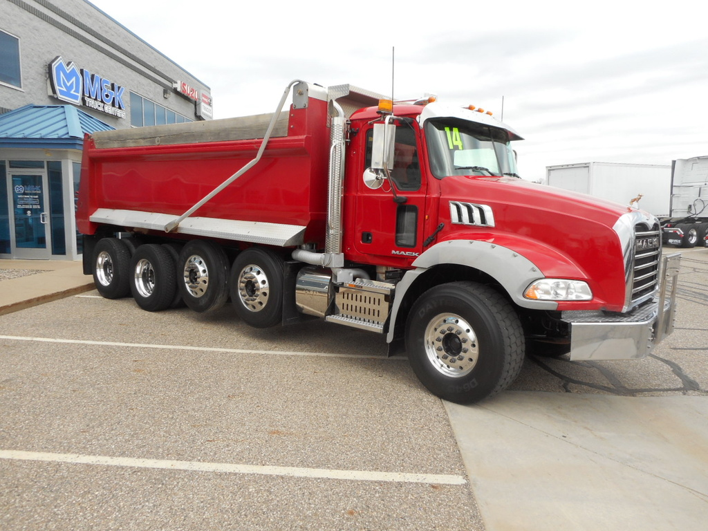 USED 2014 MACK GU813 QUAD AXLE STEEL DUMP TRUCK #285676