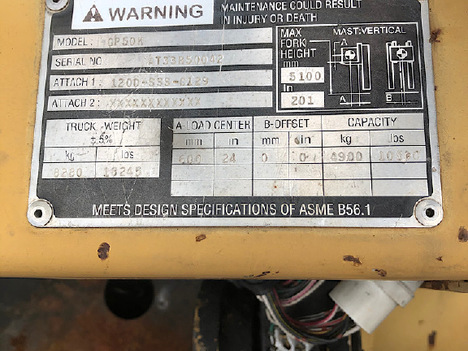 USED 2004 CAT GP50KLP MAST FORKLIFT EQUIPMENT #3563-8