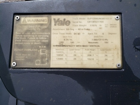 USED 2000 OTHER YALE GLP120 MAST FORKLIFT EQUIPMENT #3899-4