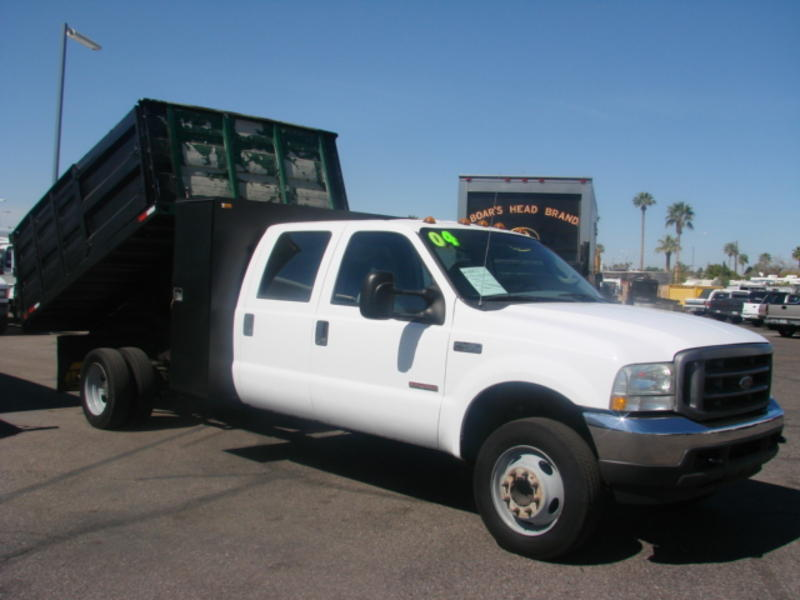 used 2004 ford f450 crew cab dump truck for sale in az 1409. Black Bedroom Furniture Sets. Home Design Ideas