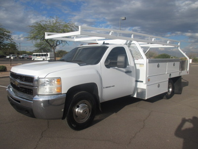 USED 2008 CHEVROLET SILVERADO 3500HD FLATBED TRUCK #2290-1