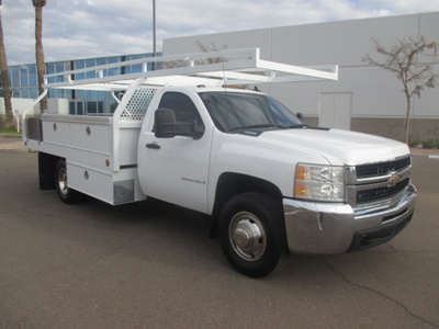 USED 2008 CHEVROLET SILVERADO 3500HD FLATBED TRUCK #2290-2
