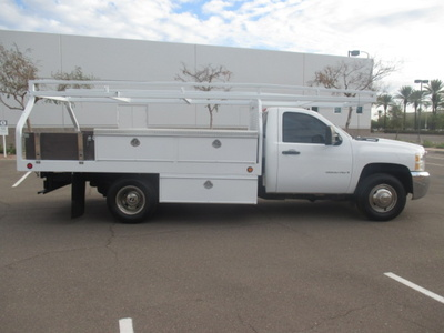 USED 2008 CHEVROLET SILVERADO 3500HD FLATBED TRUCK #2290-3