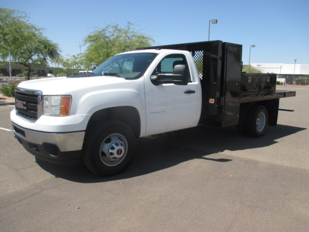 USED 2012 GMC SIERRA 3500HD FLATBED TRUCK #2371