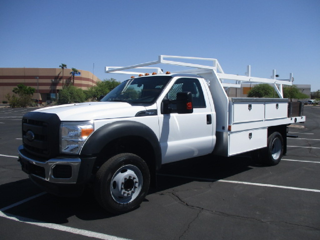 USED 2015 FORD F450 FLATBED TRUCK #2571